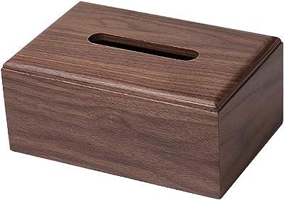 YZLIFE ブラック クルミ ティッシュボックス 長方形 リビングルーム コーヒーテーブル 収納ボックス 木製トレイ クリエイティブな木製 家庭用 YZLIFE463576696