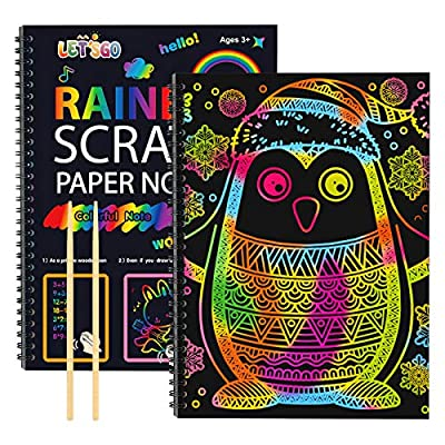 LET'S GO! Scratch Art for Kids, Gifts for 3-12 Year Old Girls Boys Arts and Crafts for Kids Party Favors Birthday for Girls Boys Ages 3-12 Rainbow Scratch Paper Fun Toys for Kids 8-12 by vary toys