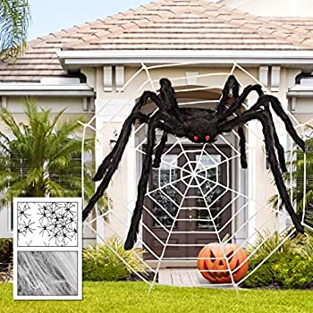 GEJRIO Halloween Giant Spider Set with one 6.5ft Large Fake Spider