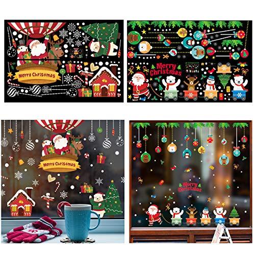 Biubee 4 Hojas de Pegatinas de Navidad para Ventana, diseño de Papá Noel, Reno, muñeco de Nieve y muñeco de Nieve