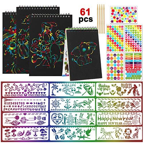 HOWAF 4 Kratzbilder Set für Kinder, 4 Regenbogen Scratch Art Notizen Bücher, 12 Kunststoff Schablonen Wiederverwendbarer, 4 Holzstifte, 5 Belohnungs Aufkleber, Kratzbilder für Mädchen Jungen Zeichnung
