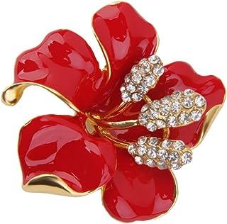 Lega Del Rhinestone Fiore Rosso Fermaglio Pin Spilla Gioiello Sciarpa Donne