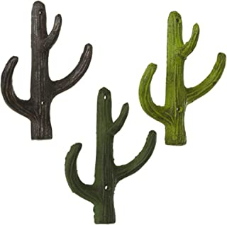 Set of 3 Assorted Midwest CBK Cast Iron Cactus Wall Hooks
