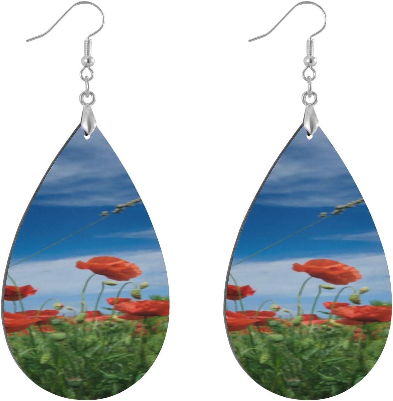 Huqalh Evil and Dead Love Poppy Wooden Earring Fashion Painted Dangle Geometric Personalized Hoops Earrings for Women Water Drop/Leaf Piercing Earrings for Women Lady Girls