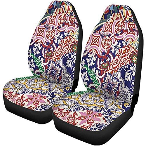 Fall Ing autostoelhoezen Arabesque Azulejos tegels patchwork abstract keramische vloer bloemenpatroon automatische bescherming voor universele stoelen