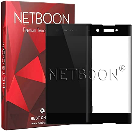 NETBOON® Premium Quality Tempered Glass Full Screen Coverage Screen Protector Gorilla Glass for Sony Xperia XA1 - Black