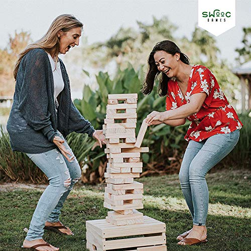 SWOOC Games - Giant Tower Game   60 Large Blocks   Storage Crate / Outdoor Game Table   Starts Over 2.5ft Big   Max Height of 5ft   Genuine Jumbo Toppling Yard Games   Jumbo Backyard Set