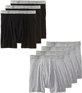 Fruit of the Loom Men's 7-Pack Black & Grey Boxer Briefs 100% Cotton Underwear
