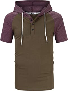 Mens Slim Fit Hoodie Casual Hooded T-Shirt Henley Shirt for Men