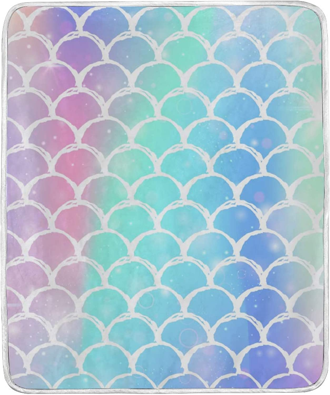 Senya Luxury Blanket Home Decor Rainbow Scales Throw Blanket Lightweight Microfiber Super Soft Warm Cozy Plush Bed Blanket 60 x 50 Inches