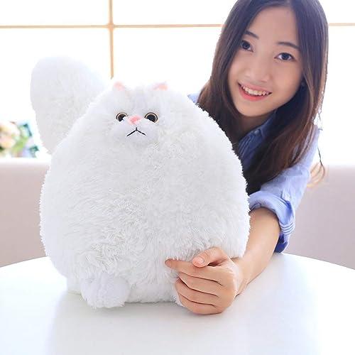 HUAIX Home Fat Weiß Cat Kuscheltiere Riesige Katze Plüschtiere für Kinder Geschenk (Weiß, 30cm)
