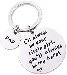 Father's Day Birthday Christmas Personalized Keychain Gifts for Dad Father from Daughter, I'll Always Be Your Little Girl,...