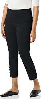SLIM-SATION womens Pull On Wide Elastic Waist Button Hem Vent Solid Twill Crop Pant Casual Pants (pack of 1)