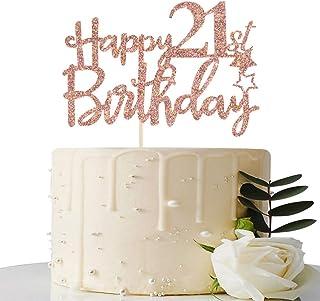 Rose Gold Glitter Happy 21st Birthday Cake Topper - 21 Cake Topper - 21st Birthday Party Supplies - 21st Birthday Party De...