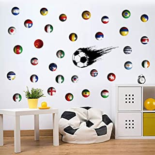 6 Pcs Soccer Football World Cup Nation Flags Country Flags Decals Boys Room Children Bedroom Decorative Wall Paper Closet Wardrobe Drawer Table