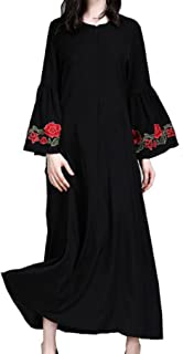 Hide Away Womens Elegant Long Sleeve Embroidered Maxi Dress Abaya Muslim Islamic Dress