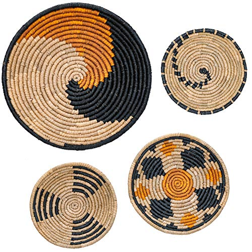 Artera Wicker Wall Basket Decor- Hanging Woven Seagrass Flat Baskets, Round Boho Wall Basket Decor for Living Room or Bedroom, Unique Wall Art. (Style 3)