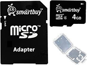 Smartbuy 4GB Micro SDHC Class 4 TF Flash Memory Card SD HC C4 for Camera Mobile Phone Tab GPS MP3 TV + Adapter + Mini Case