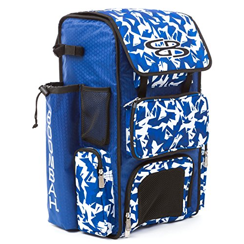 Boombah Superpack Bat Pack -Backpack Version (no Wheels) - Holds 2 Bats - Stealth Camo Royal/White - for Baseball or Softball