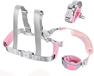 Accmor 2 in 1 Child Safety Harness, Kids Harness Safety Leashes + Anti Lost Wrist Link, Child Anti Lost Baby Leash Harness Baby Lost Strap Safety Leash for Kids (Pink)