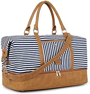 Plambag Water-Repellent Canvas Holdall Bag with Shoe Compartment, 40L Weekender Duffle Bag, Large Overnight Travel Bag wit...