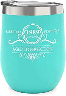1989 30th Birthday Gifts for Women Men - Vintage Anniversary Gift Ideas Party Decorations Supplies for Him, Her, Husband or Wife - 12 oz Stainless Steel Wine Glass Tumbler with Lid