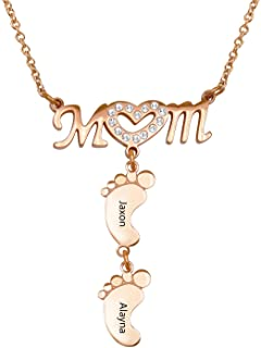 Sponsored Ad - Pezebel Personalized Custom Mom Heart Symbol Necklace and Baby Feet Necklace