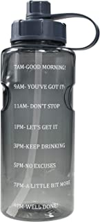 Half Gallon 64 OZ Water Bottle with Straw & Time Marker, BPA Free Reusable Motivational Water Bottle That Reminds You to D...