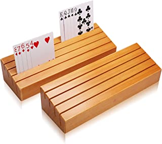 Exqline Wood Playing Card Holders Tray Racks Organizer Set of 2 for Kids Seniors Adults..
