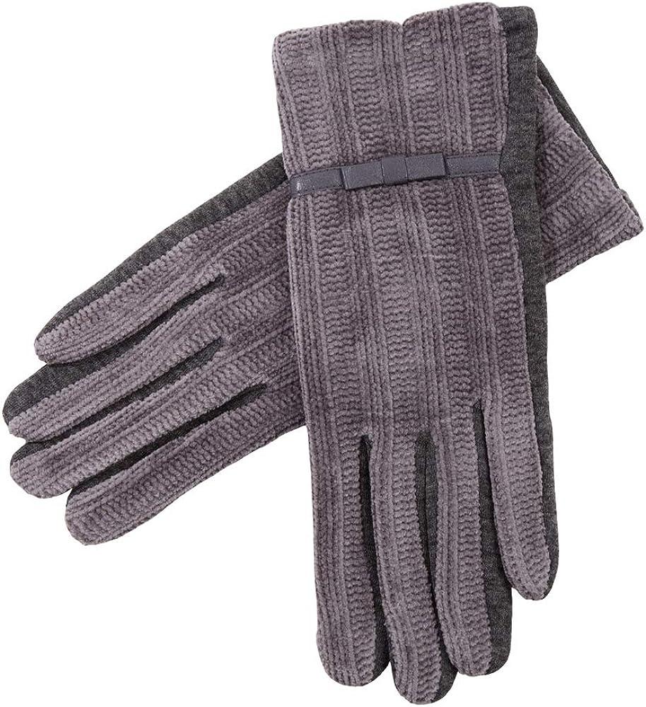 Women's Winter Warm Chenille Feel Ladies Faux Fur Gloves Screen-Touch