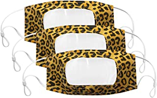 3 Pcs Face Covering with Clear Window,Leopard Printed Face Bandanas Visible Expression for Deaf and Hard of Hearing