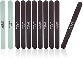 11PCS Professional Nail Files and Buffers, 100/180 Grit Nail File Set for Natural & Acrylic False Nails, Double Sided Emery Board, Manicure Tools Kit, Nail Buffering Files for Salon Use
