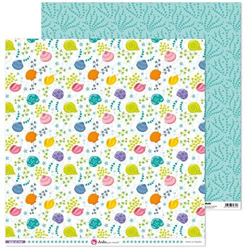 Anita y Su Mundo Colección Bajo el Mar Papeles de Scrapbooking, Paper, Conchas, 30.5 x 30.5 cm