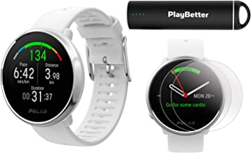Polar Ignite Fitness GPS Watch Power Bundle (White-Silver, Small)   with PlayBetter HD Screen Protectors & Portable Charger   Polar Precision Heart Rate, Integrated GPS & Sleep Plus Tracking