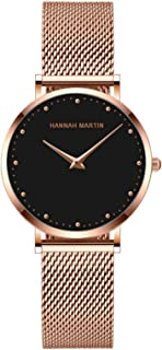 ساعة نسائية عصرية كوارتز تناظرية للسيدات ساعة يد كاجوال بسوار من الفولاذ المقاوم للصدأ 3 ATM مقاومة للماء (اللون: B)