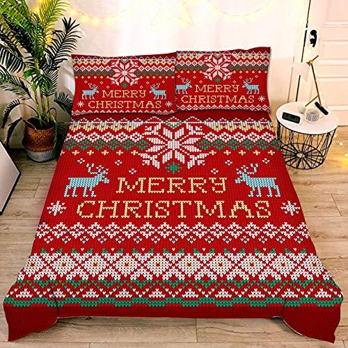 Children?s Christmas Duvet cover, Microfiber fabric,3D printed Santa Claus, snowman, elk realistic pattern, for Kids Xmas Gift New Year Decor (I,Single 135x200cm)