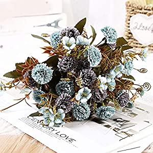 YEZIL Garden Tool- 5 Branch 11 Heads Artificial Flowers Lilac Silk Bouquets Christmas Home Decor Fake Flowers for DIY Party Decoration Home Decor for Gardens, Hydroponic Plants, Succulents