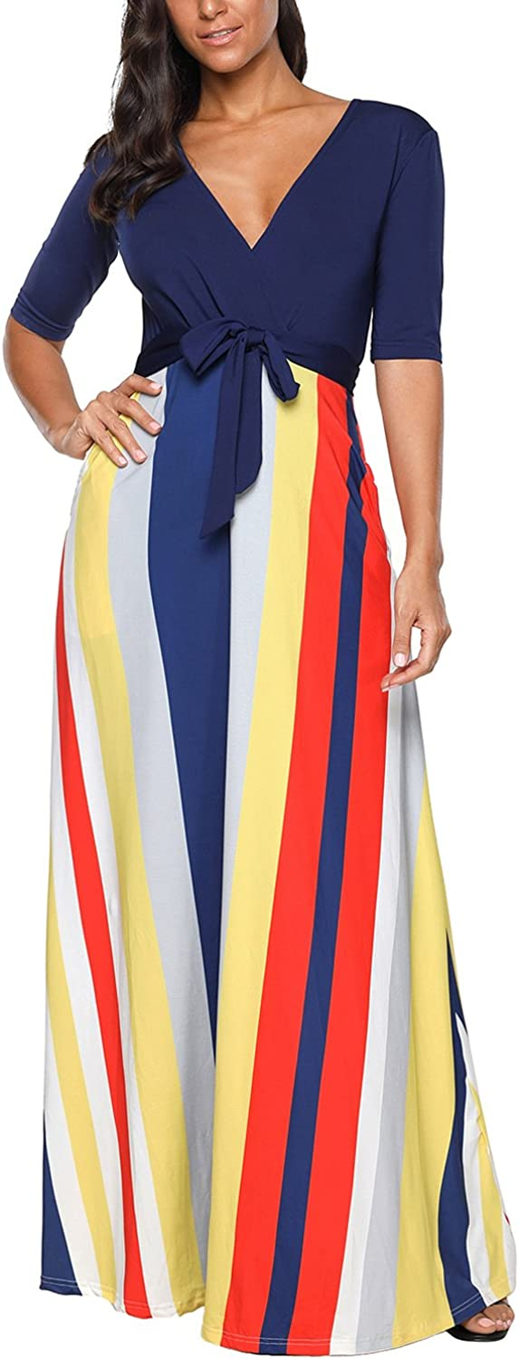 Beles Womens Short Sleeve Striped Patchwork Casual Maxi Dress With Side Pockets