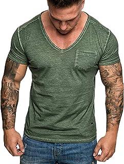 Men's T Shirt, V-Neck Slim Fit Casual Short Sleeve Lightweight Pocket Sport Work T-Shirt with Chest Pocket