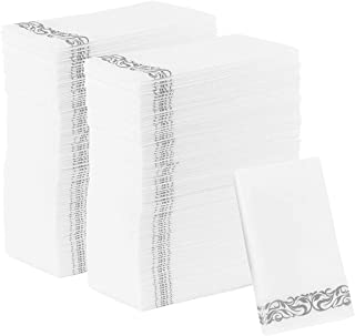 PARTY BARGAINS Disposable Linen-Feel Paper Guest Towels   Durable & Decorative Cloth-Like Soft Bathroom Hand Napkins for Dinner, Wedding or Cocktail Party   White & Silver 100 Count