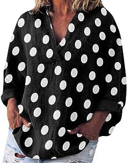 TINGZI Women Tees Casual Dot Print Long Sleeve V-Neck Loose Shirt Pocket Blouse Tops Loose Fit Comfy Tunic