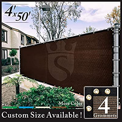 Royal Shade 4' x 50' Brown Fence Privacy Screen Cover Windscreen, with Heavy Duty Brass Grommets, Custom Make Size