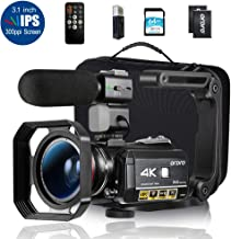 "Ordro AC3 4K Camcorder HD Digital Video Camera 1080P 60FPS Infrared Night Vision 3.1"" IPS Screen with Microphone, Wide Angle Lens, Lens Hood, 64GB SD Card, Handle,2 Batteries,Carrying Case"