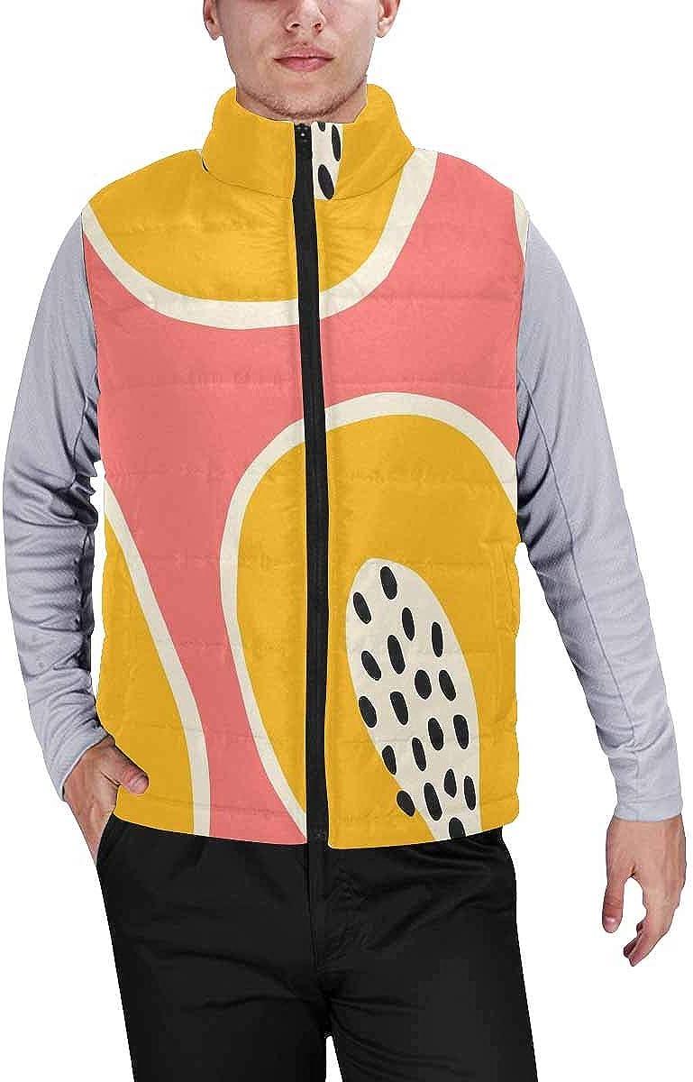 InterestPrint Men's Outdoor Casual Stand Collar Sleeveless Jacket Paisley Damask Pattern