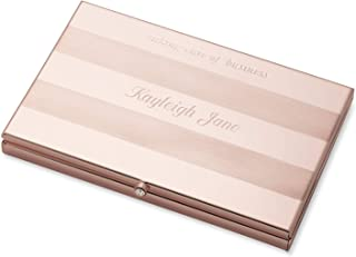 Things Remembered Personalized Frosted Pink Stripe Card Case with Engraving Included