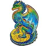 Canghai Rompecabezas de dragón volador misterioso, piezas de rompecabezas con forma de animal, rompecabezas 3D de madera para adultos y niños (420 x 297 mm)
