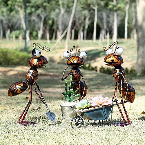 LiuliuBull Ungefähr 13 Zoll Ameise Garten Dekor Eisen Outdoor mit abnehmbaren Eimer Sukkulenten Blumentopf Schmuckstück Lagerung Gartendekoration (Color : 1 Set)