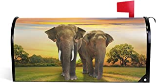 Bardic Unimagic Magnetic Mailbox Cover Indian Elephant Sunset Mailbox Wraps Letter Post Box Cover Standard Large Size Mailbox Makeover