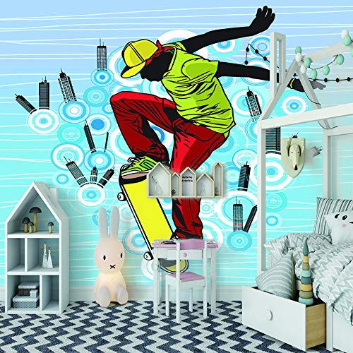Fototapete Skateboard Stadt 3D Tapete Vliestapete Moderne Wanddeko Design Tapete Wandtapete Wand Dekoratio TV Hintergrundwand - 350cm(W) x256cm(H) - 7 Stripes