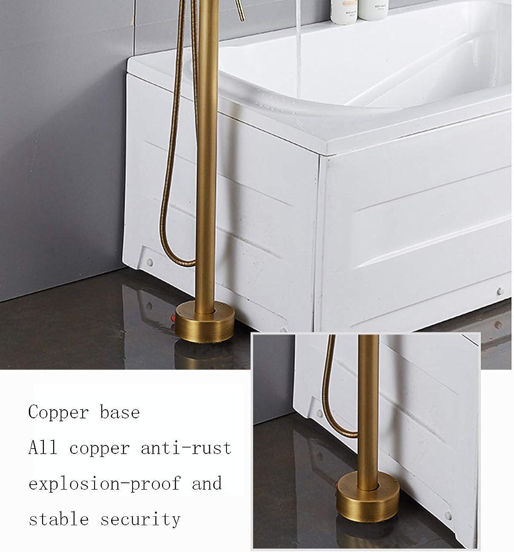 YI KUI Wasserhahn Bodenmontierte Steh Badewanne Faucet Single Handle Mixer Tap Mit Handdusche, Antikes Messing-Bad-Hardware-Accessoires-schwarz
